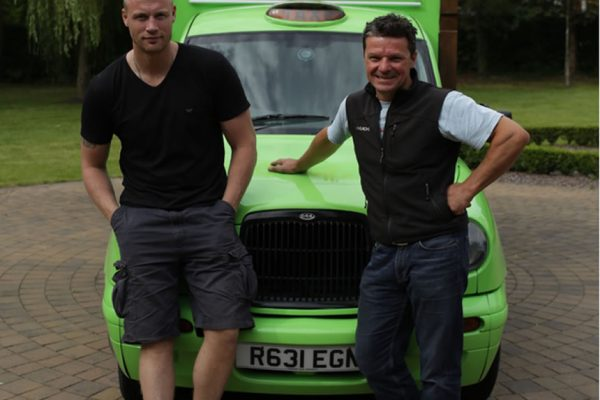 Freddie Flintoff Lord of the Fries. Sky TV. London Taxi Cab Conversion by Towability